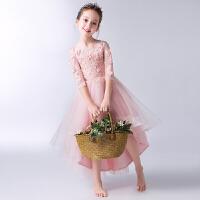 儿童走秀主持人钢琴演出服女童粉色晚礼服公主裙蓬蓬纱花童婚纱裙