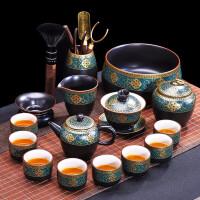 唐丰功夫茶具陶瓷茶壶鎏金盖碗中式品茗杯家用西域建盏倒茶器套装