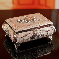 奢华金属首饰盒欧式宫廷珠宝盒仿古创意戒指收纳盒饰品盒结婚礼物 大号首饰盒