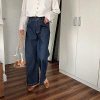 不油自制 深蓝色牛仔裤女 高腰显瘦阔腿裤宽松直筒裤秋 深蓝色/现货 3天内发货 M