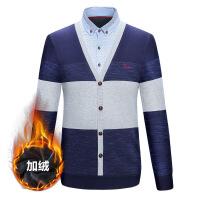 保暖衬衫男加绒加厚假两件冬季中年套头爸爸衫长袖衬衣男装上衣服