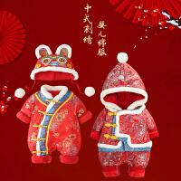 新生儿用品婴儿衣服宝宝冬装保暖拜年服连体衣冬季*