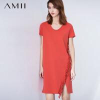 【AMII 超级品牌日】AMII[极简主义]夏新款大码圆领短袖拼流苏连衣裙性感开叉中裙