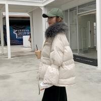 大毛领女冬季新款短款加厚面包服外套韩版学生棉衣棉袄潮 米白色 图片色 S