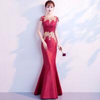 敬酒服新娘2018新款冬季长款鱼尾旗袍红色结婚回门中国风晚礼服女