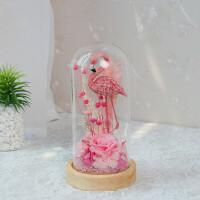 永生花玻璃罩礼盒摆件车载巨型保鲜玫瑰康乃馨教师节女友生日礼物 粉红色 火烈鸟灯罩粉色