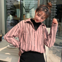 秋冬女装韩版宽松假两件半高领条纹长袖衬衣学生休闲衬衫上衣外套 均码
