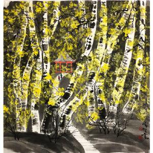 赵准旺《桦树林》著名画家