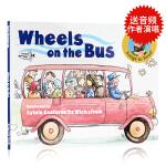 Wheels on the Bus 巴士上的轮子英文原版绘本 美国乡村歌手儿歌童谣图书公车上的轮子儿童低幼启蒙故事图画