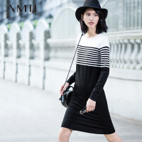 【AMII 超级品牌日】AMII[极简主义]冬新品修身大码圆领条纹中长款毛衣女11572132
