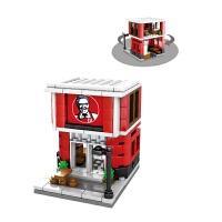 森宝积木城市系列迷你街景房子儿童玩具兼容乐高解压积木儿童玩具 西瓜红 肯德基