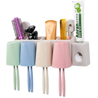 洗漱套装挂架创意壁挂吸盘牙刷架漱口杯吸壁式全自动挤牙膏器带杯