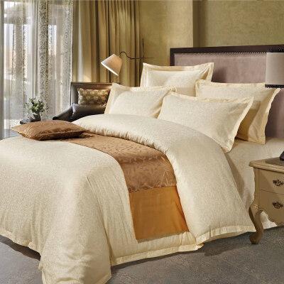 酒店床单四件套全棉宾馆床上用品60支贡缎1.8米床双人欧美风简约 黄色  精选面料 严整走线 柔软舒适透气