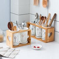 多孔厨房创意餐具笼沥水防霉陶瓷双筒筷架套装收纳盒筷子筒木架