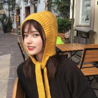 韩国复古纯色护耳毛线帽子女秋冬保暖法式系带包头针织帽潮雷锋帽