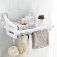 不锈钢塑料浴室架置物架吸盘毛巾架双杆无痕粘贴壁挂式卫浴收纳架_七片装