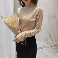 高领加绒打底衫女秋冬2018新款潮长袖T恤很仙的洋气金丝绒上衣 均码