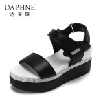 Daphne/达芙妮春夏季新款学生魔术贴凉鞋 露趾厚底--