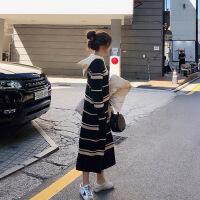 2018新款女装法国小众针织毛衣连衣裙娃娃秋冬配大衣的长裙子过膝 黑白条纹连衣裙