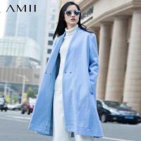 AMII[极简主义]冬新宽松立领斜门襟暗扣腰带毛呢外套11591583