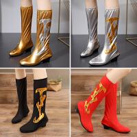 软底表演/舞台演出鞋-弹力高筒靴子少数民族蒙古/藏族儿童舞蹈鞋