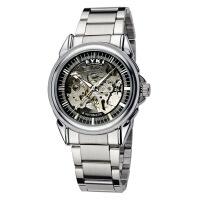 2017年新款 艾奇 EYKI 机械表 个性休闲手表 时尚钢带表 镂空男表 黑盘 8498