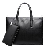 手提包男士手拿横款商务英伦男包包软皮休闲公文包