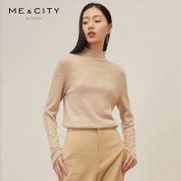 【1件4折价:239.6】100%羊绒MECITY秋季气质打底修身半高领纯色套头毛衣女