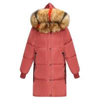 大毛领羽绒棉衣新款女冬季反季中长款加厚韩版宽松面包服
