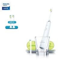 飞利浦(PHILIPS)电动牙刷 成人声波震动钻石系列(自带刷头*2+充电旅行盒+充电玻璃杯) 白钻HX9332/04