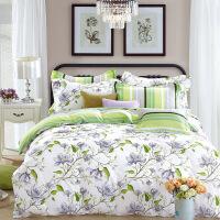 当当优品家纺 纯棉斜纹印花床品 双人床单四件套 轻盈之舞(绿)