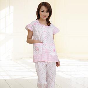 金丰田女士夏季棉质睡衣套装 女式短袖波点清新家居服两件套1762