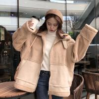 新款冬季女装韩版宽松仿羊羔毛皮毛一体加厚保暖棉衣外套 均码 卡其色