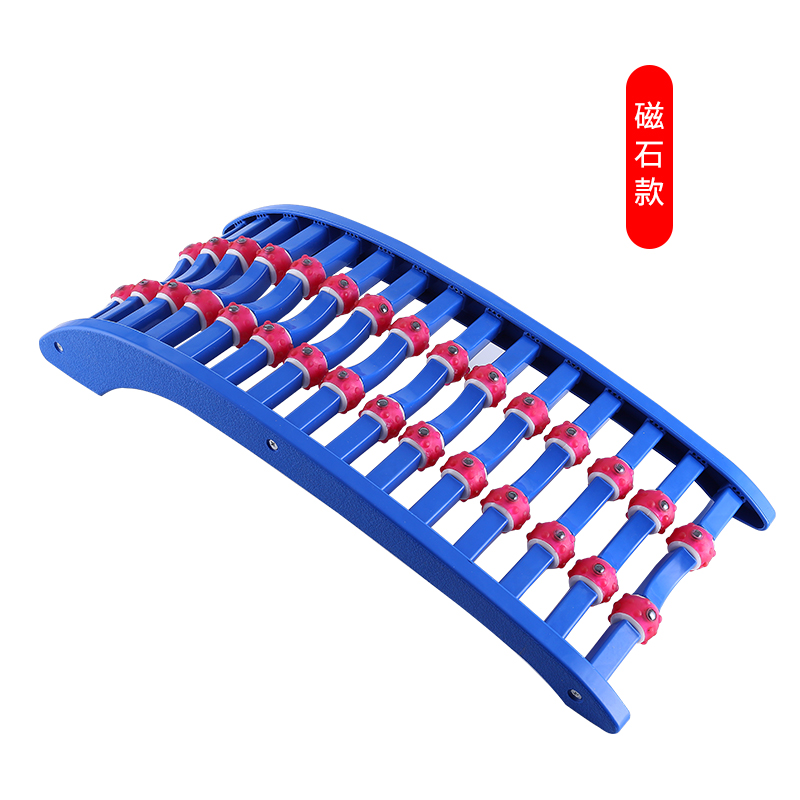 腰椎脊椎舒缓架按摩器脊柱驼背矫正器全身颈椎枕腰部背部靠垫 湖蓝色 磁石款