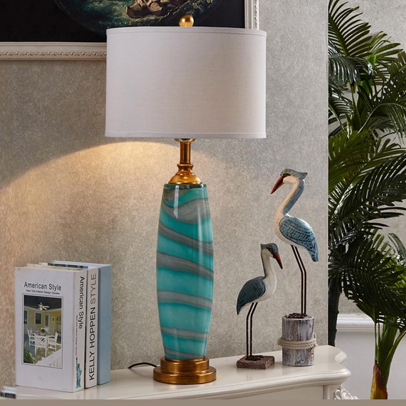 欧式奢华装饰台灯卧室床头灯简约现代书房客厅样板房创意个性台燈 蓝色款 发货周期:一般在付款后2-90天左右发货,具体发货时间请以与客服协商的时间为准