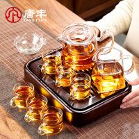 唐丰黑檀实木小套组玻璃功夫泡茶器家用蓄水茶台透明茶壶耐热茶杯