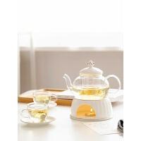 【新品】欧式花茶壶煮普洱茶壶套装简约陶瓷玻璃下午茶花果茶具蜡烛可加热 +6杯6碟