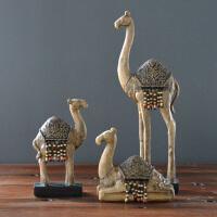 西域风情复古仿木骆驼摆件家居装饰品玄关酒柜电视柜书房工艺品装饰摆件