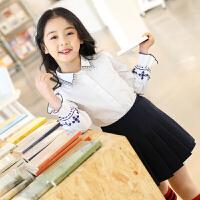 女童立领长袖白色中大童韩版新款学院风薄款衬衣潮儿童衬衫