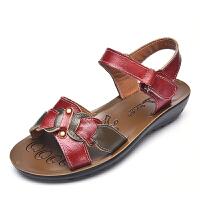 夏季妈妈凉鞋女鞋平跟软底女士凉鞋休闲露趾大码中老年凉拖鞋
