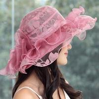 韩仿真丝帽子女可折叠太阳帽防晒女士遮阳帽夏天