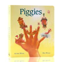 Piggies 英文原版绘本 儿童启蒙纸板书 Audrey Wood 吴敏兰绘本123 第96本