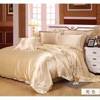 纯色真丝四件套1.8m丝绸床单被套真丝床上用品定制