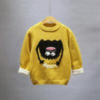 男童毛衣秋冬款2018新款韩版儿童装加绒加厚打底针织衫女套头线衣
