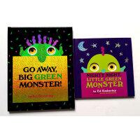 Green Monster 大绿怪2本精装套装 廖彩杏 美国图书馆推荐英文原版绘本Go Away Big Green Monster!走开,大绿怪!Nighty Night, Little Green