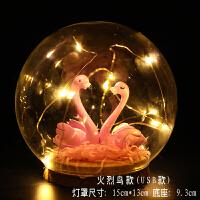 浪漫生日礼物红色玫瑰干花花束礼盒发光LED情人节少女心送女友