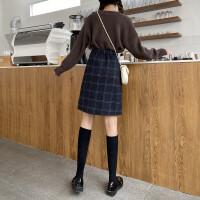 格子半身裙秋冬学生裙女包臀中长裙特大码羊毛呢子a字裙遮胯显瘦