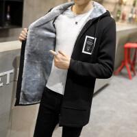冬季风衣男中长款2018新款韩版修身连帽卫衣大衣加厚加绒男士外套