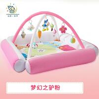 婴儿脚踏钢琴健身架器0-1-3-4-6-9-12个月岁护栏宝宝音乐玩具 梦幻之驴粉