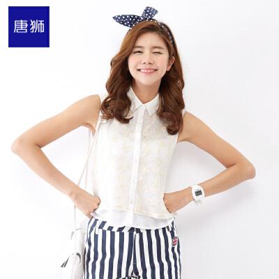 唐狮 夏 女假两件蕾丝拼接雪纺短袖衬衫 韩版学院风休闲百搭 28.75元
